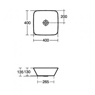 Ideal Standard Concept Air Cube Vessel Basin 400mm Wide 0 Tap Hole
