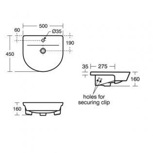 Ideal Standard Concept Air Arc Semi - Countertop Basin 500mm Wide 1 Tap Hole