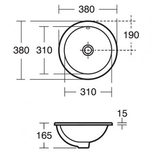 Ideal Standard Concept Sphere Countertop Basin 380mm Wide 0 Tap Hole