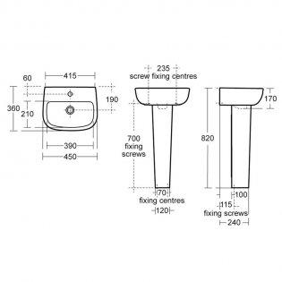 Ideal Standard Echo Handrinse Basin and Full Pedestal 450mm Wide - 1 Tap Hole