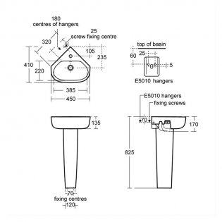 Ideal Standard Echo Corner Handrinse Basin and Full Pedestal 450mm Wide - 1 Tap Hole