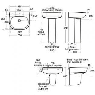 Ideal Standard Jasper Morrison Basin and Full Pedestal 550mm Wide 1 Tap Hole