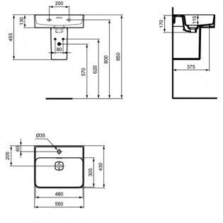 Ideal Standard Strada 2 Washbasin with Semi Pedestal 500mm Wide 1 Tap Hole