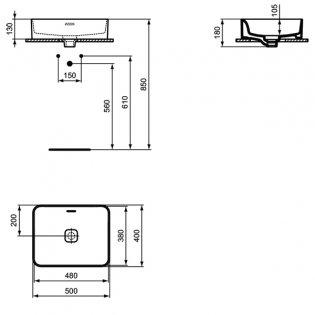 Ideal Standard Strada 2 Vessel Countertop Basin 500mm Wide 0 Tap Hole