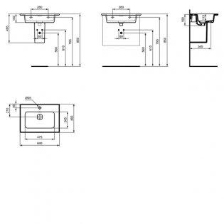 Ideal Standard Strada 2 Washbasin with Semi Pedestal 640mm Wide 1 Tap Hole