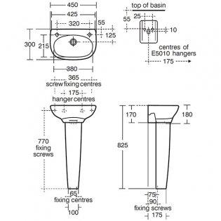 Ideal Standard Studio Cloakroom Basin and Full Pedestal 450mm Wide 2 Tap Holes