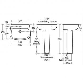 Ideal Standard Studio Echo Basin and Full Pedestal 600mm Wide - 1 Tap Hole