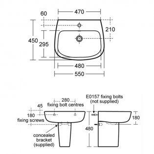 Ideal Standard Studio Echo Basin and Semi Pedestal 550mm Wide - 1 Tap Hole