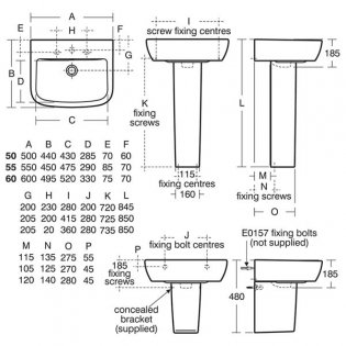 Ideal Standard Tempo Basin and Full Pedestal 500mm Wide 2 Tap Holes