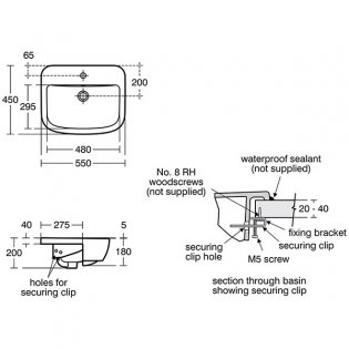 Ideal Standard Tempo Semi Countertop Washbasin 550mm Wide 1 Tap Hole