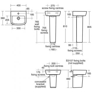Ideal Standard Tempo Handrinse Basin and Full Pedestal 400mm Wide 1 Tap Hole