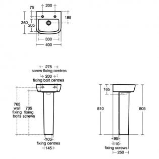 Ideal Standard Tempo Handrinse Washbasin 400mm Wide 2 Tap Holes