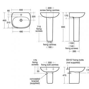 Ideal Standard Tesi Basin with Semi Pedestal 550mm Wide - 1 Tap Hole