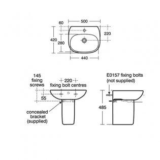 Ideal Standard Tesi Basin with Semi Pedestal 500mm Wide - 1 Tap Hole