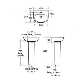 Ideal Standard Tesi Cloakroom Basin with Full Pedestal 450mm Wide - 1 Tap Hole