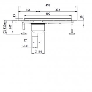 Impey Linear Drain 400mm, Stainless Steel Cover, Vertical Outlet