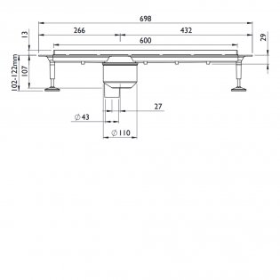Impey Linear Drain 600mm, Stainless Steel Cover, Vertical Outlet