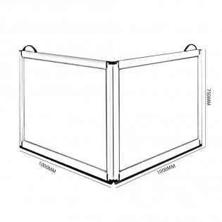 Impey Portable Folding Shower Screen 750mm High x 1000mm x 1000mm