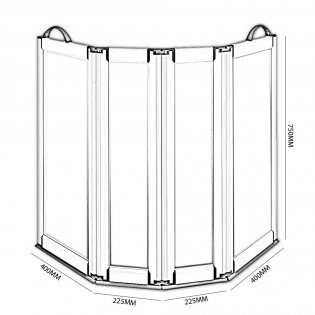 Impey Portable Folding Shower Screen 750mm High x 2x400mm x 2x225mm