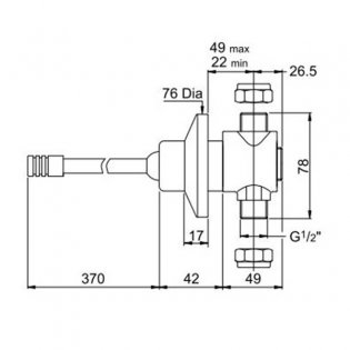 Inta Knee Operated Concealed Valve with 350mm Lever