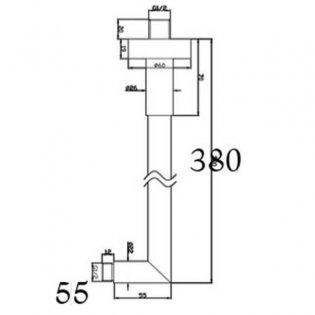 JTP Cafe Wall Mounted Shower Arm, 350mm, Chrome