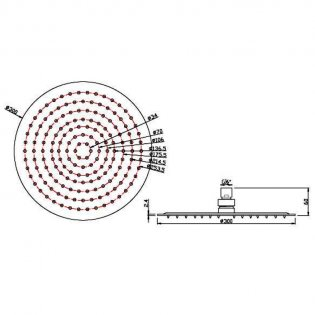 JTP Glide Ultra-Thin Round Ceiling Mounted Fixed Shower Head 400mm Diameter - Chrome