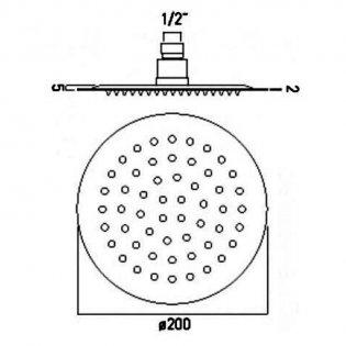 JTP Inox Glide Extra Slim Round Fixed Shower Head 200mm Diameter - Stainless Steel