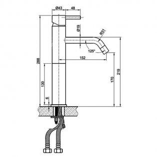 JTP Inox Tall Basin Mixer Tap Single Handle - Stainless Steel