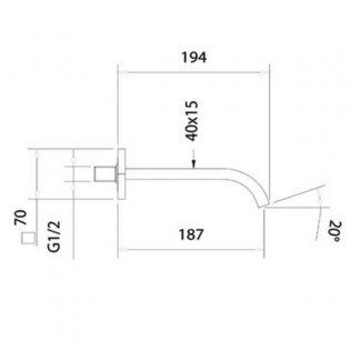 JTP Ki-Tech Basin Spout, 180mm, Chrome