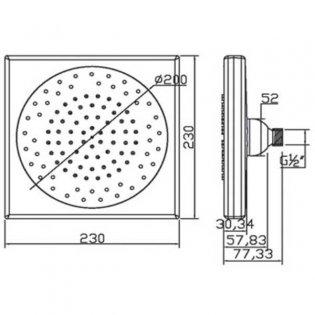 JTP Micro Fixed Shower Head, 230mm x 230mm, Chrome