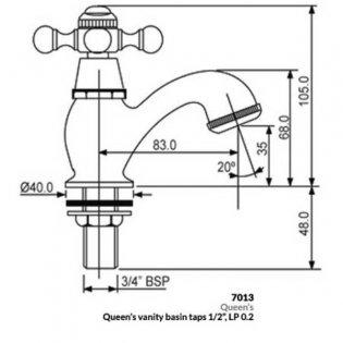 JTP Queens Vanity Basin Taps, Pair, Chrome