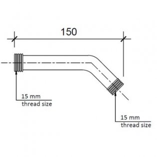 JTP Techno Wall Mounted Shower Arm, 150mm, Chrome