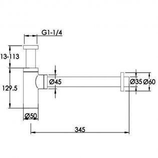 JTP Vos Bottle Trap 345mm Extension Pipe - Brushed Black