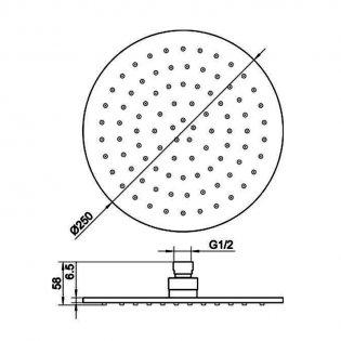 JTP Vos Round Fixed Shower Head 250mm Diameter - Brushed Black