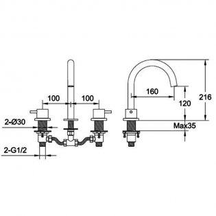 JTP Vos 3-Hole Deck Mounted Basin Mixer Tap - Brushed Brass