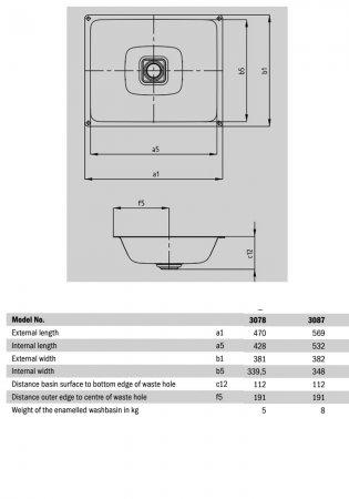Kaldewei Cono Undercounter Basin 470mm Wide - 0 Tap Hole