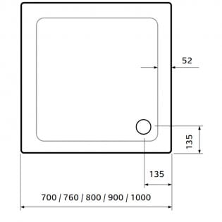 Lakes Low Profile Square Shower Tray with Waste 900mm x 900mm - ABS Stone