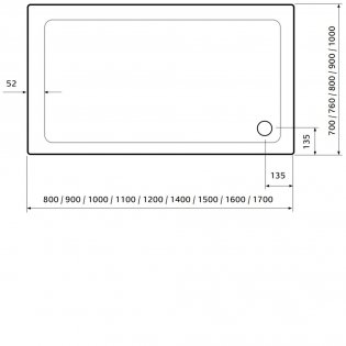 Lakes Low Profile Rectangular Shower Tray 900mm x 800mm x 45mm with 90mm Waste