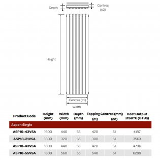 MaxHeat Aspen Single Designer Vertical Radiator 1800mm H x 320mm W - Anthracite