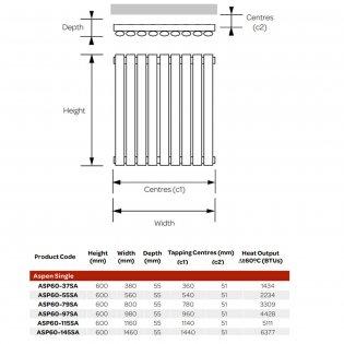 MaxHeat Aspen Single Designer Horizontal Radiator 600mm H x 1160mm W - Anthracite