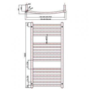 MaxHeat Camborne Curved Towel Rail, 1000mm High x 400mm Wide, White
