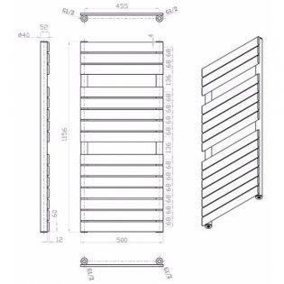 MaxHeat Deshima Vertical Towel Rail, 1156mm High x 500mm Wide, Anthracite