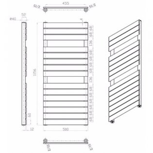 MaxHeat Deshima Vertical Towel Rail, 1156mm High x 500mm Wide, Silver