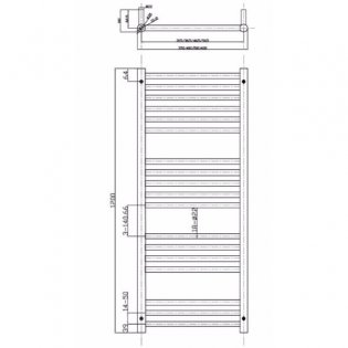 MaxHeat Falmouth Straight Towel Rail, 1200mm High x 400mm Wide, Polished Stainless Steel