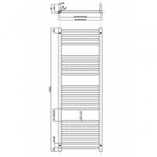 MaxHeat Falmouth Straight Towel Rail, 1400mm High x 400mm Wide, Polished Stainless Steel