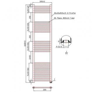 MaxHeat Falmouth Straight Towel Rail, 1600mm High x 400mm Wide, Chrome