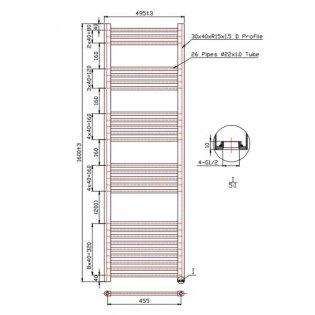 MaxHeat Falmouth Straight Towel Rail, 1600mm High x 500mm Wide, Chrome