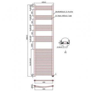 MaxHeat Falmouth Straight Towel Rail, 1800mm High x 500mm Wide, Chrome