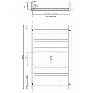MaxHeat Falmouth Straight Towel Rail, 800mm High x 500mm Wide, White