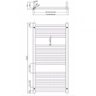 MaxHeat Falmouth Straight Towel Rail, 1000mm High x 600mm Wide, Chrome